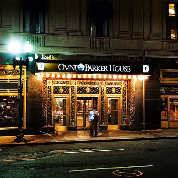 The external front of the Omni Parker House at night, not visible are the many ghosts that haunt the house.