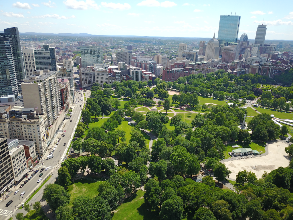 an aerial view of boston common park