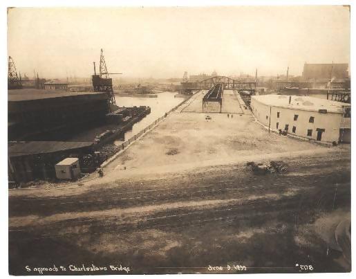 Sepia Ariel photo of the Charlestown bridge from 1899