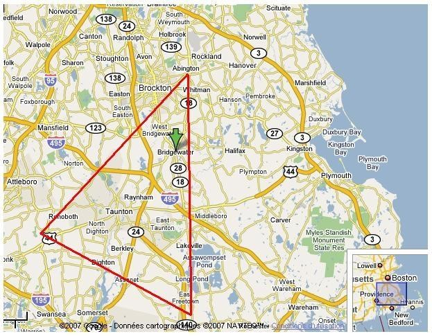 A map showing the Bridgewater triangle, where bigfoot, black beasts and random disappearances all occur