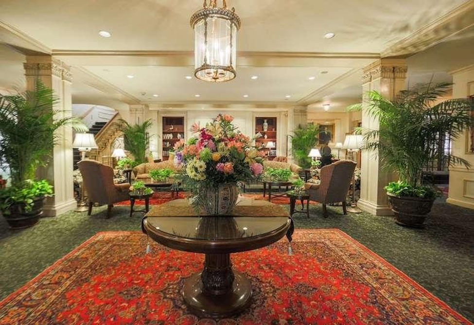 The lobby of the ornate Hawthorne Hotel, Salem, where the cast of 'Bewitched' stayed while filming.