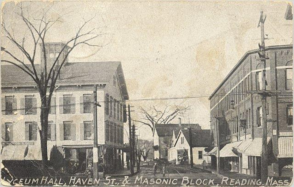 A vintage postcard image of the exterior of Lyceum Hall where Alexander Graham Bell made the world's first long-distance phone call