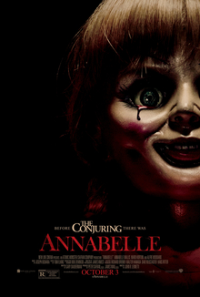 Annabelle Film Poster The poster art copyright is believed to belong to the distributor of the film, Warner Bros. Pictures, the publisher of the film or the graphic artist.