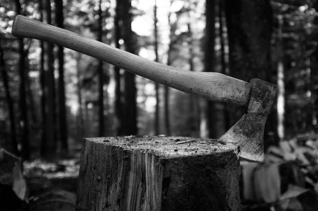 photo is black and white with a hatchet sticking out of a log.