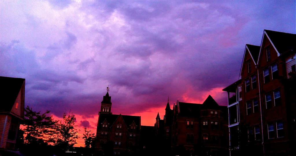 photo shows the shadow of Danvers on a sunset painted sky