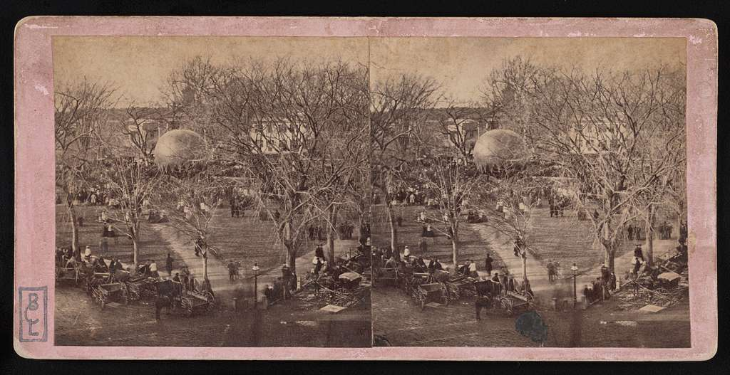 an old photo showing the Boston Common park bustling with people