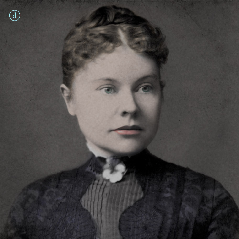 Portrait in color of Lizzie Borden with her hair up.
