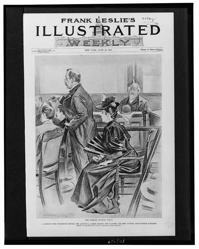 illustration shows lizzie in the courtroom at her murder trial