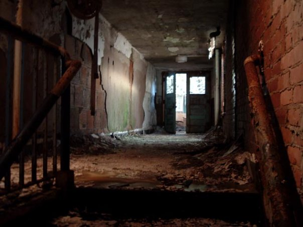 photo shows an abandoned hallway in the school