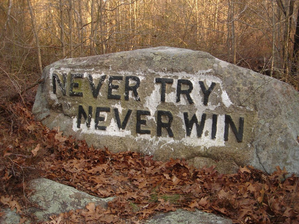 photo shows a boulder that says 'never try, never win'