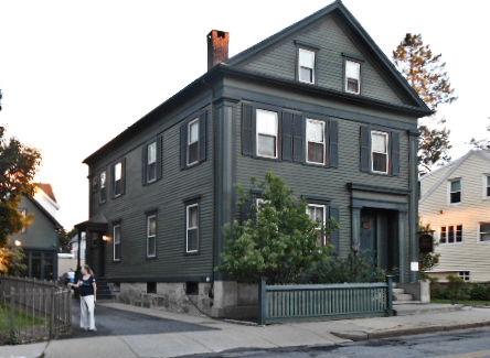 photo shows the facade of the lizzie borden house
