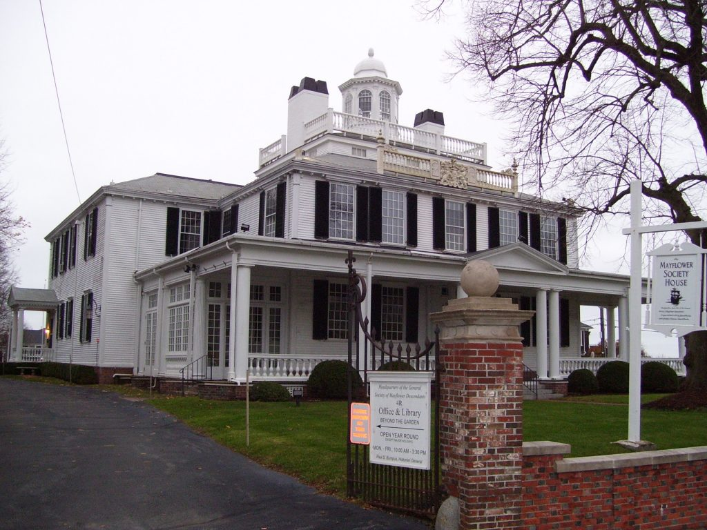 photo shows the facade of the mayflower society museum.