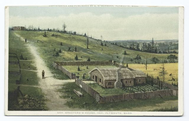 photo shows a historic illustration of a panoramic view of plymouth, showing governor bradfords home