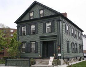 photo shows the facade of the lizzie borden house.