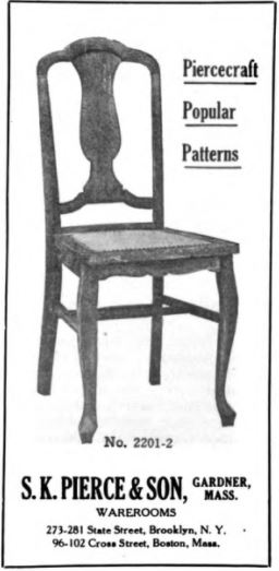 photo shows an illustration of one of the pierce furniture company's most popular chairs. It's a simple wooden chair with curved legs