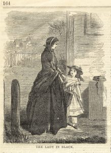 """Photo shows an illustration of a woman in and Victorian era gown, with a little girl by her side looking up at her. The photo is tilted """"The Lady in Black"""""""