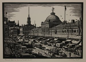 Photo shows an illustration of Faneuil Hall Marketplace, bustling with people and small shop stands.